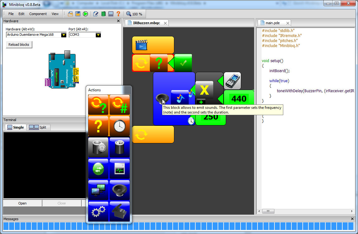 Графический язык программирования Minibloq