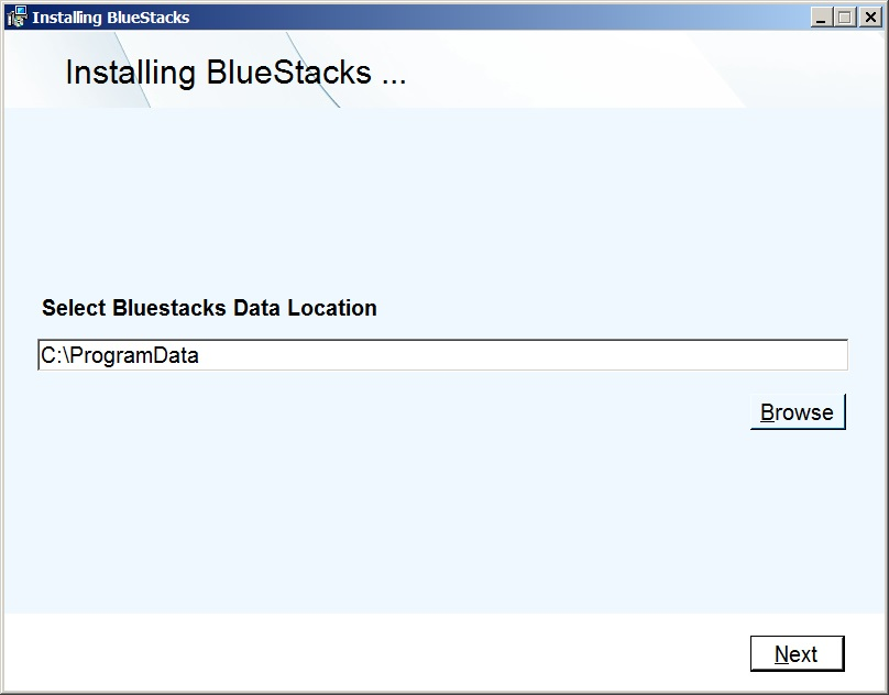 Выбор места установки BlueStacks