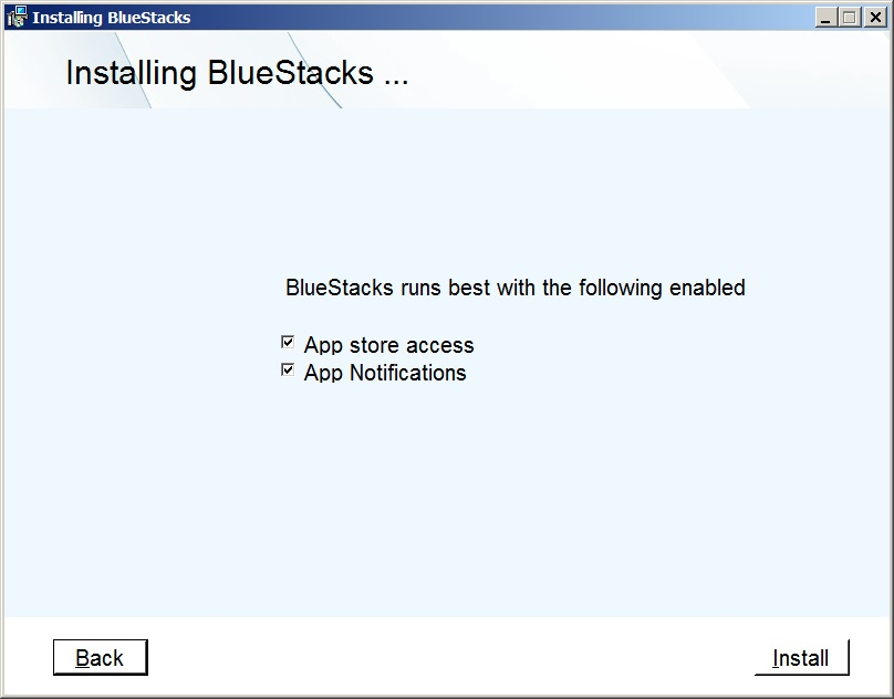 Опции установки BlueStacks