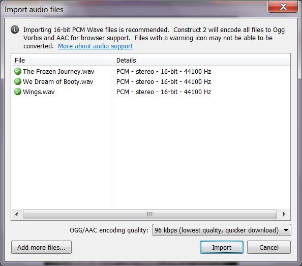Импорт аудиофайлов в проект Construct 2