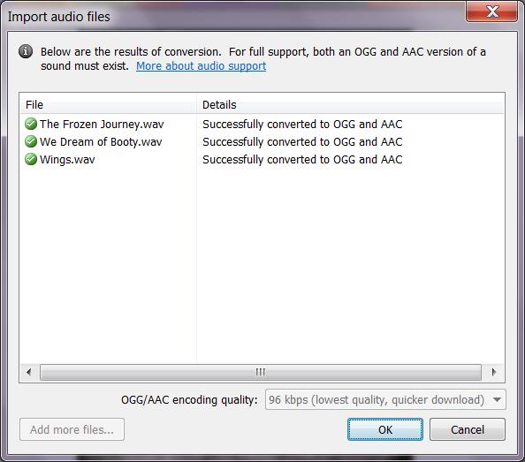 Успешная конвертация аудиофайлов в Construct 2