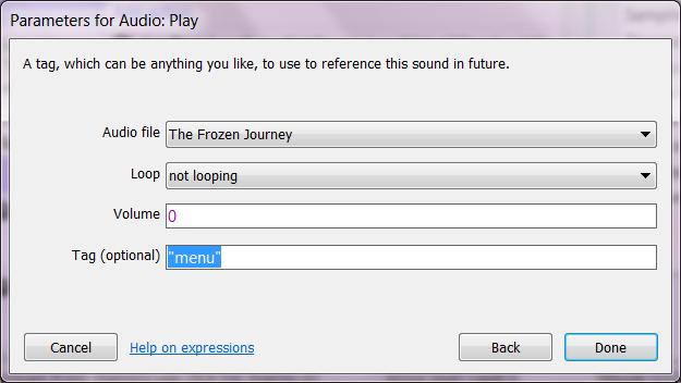 Установка параметров воспроизведения музыки в Construct 2