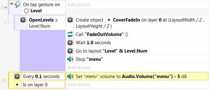 Пример плавного уменьшения громкости звука в Construct 2