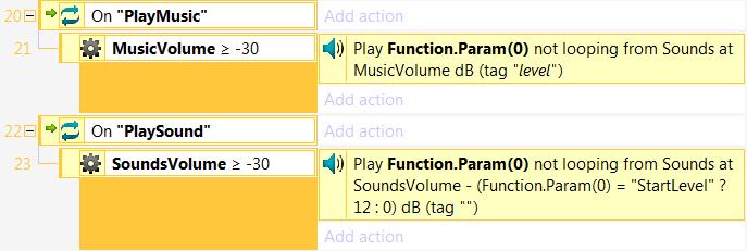 Функция для воспроизведения звука с определённой громкостью в Construct 2
