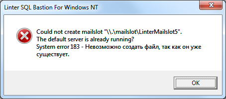 Could not create mailslot ""\.mailslotLinterMailslot5"". The default server is already running? System error 183 – Невозможно создать файл, так как он уже существует.454|199|?|c3714540ba3817aac32b632bedb9b6b8|False|UNLIKELY|0.351821631193161