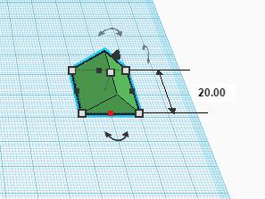 Маркер изменения одного размера формы в Tinkercad