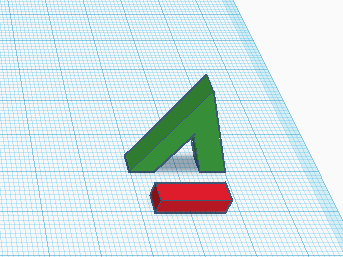 Перекладина для будущей буквы А в Tinkercad