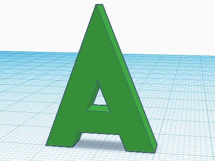 Буква А, сделанная в Tinkercad, готова