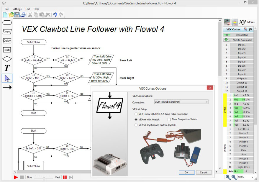 Программирование роботов с помощью Flowol